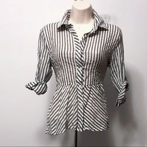 Grey & white striped button top